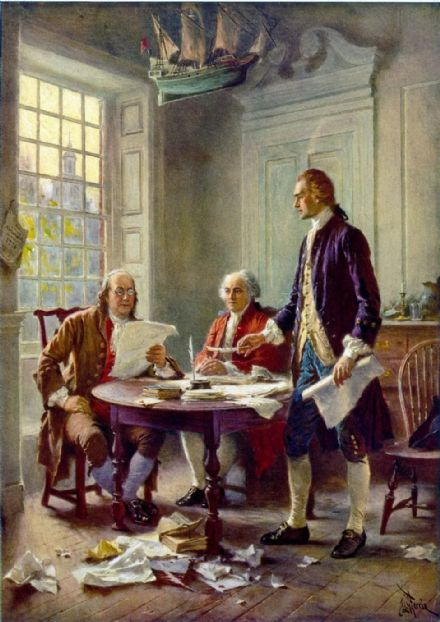 Gerome, Jean Leon: Drafting the Declaration of Independence. Fine Art Print/Poster. Sizes: A4/A3/A2/A1 (002846)